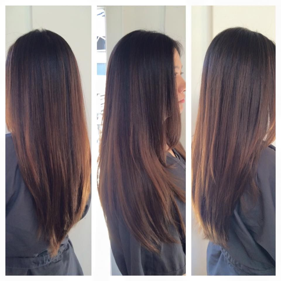 Balayage Caramel Highlights. Asian Hair. Asian Highlights