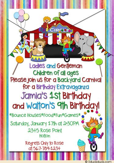 Circus Carnival Birthday Invitation - Photo Big Top Clowns Party - circus party invitation