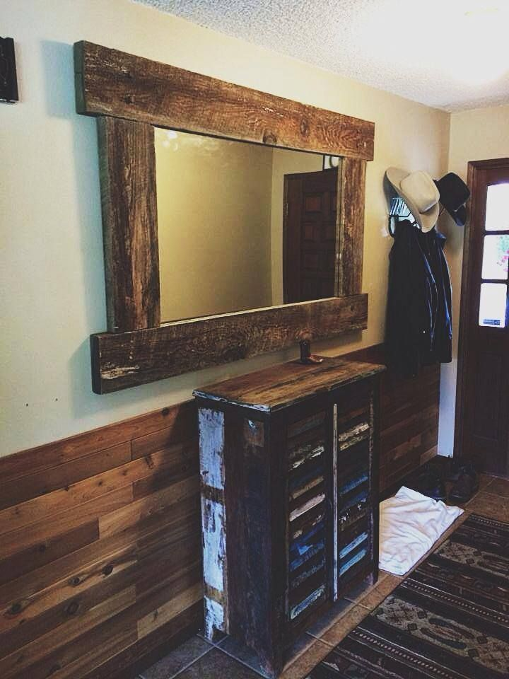 Hand Built barn wood mirror frame for your home. Hand built in Canby, Oregon by the guys at Vibe Reclaimed Wood Works