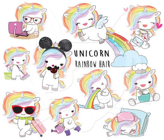 Rainbow Hair Unicorn Set 1 Kawaii Unicorn Clipart Instant Etsy Kawaii Unicorn Rainbow Hair Cat Clipart