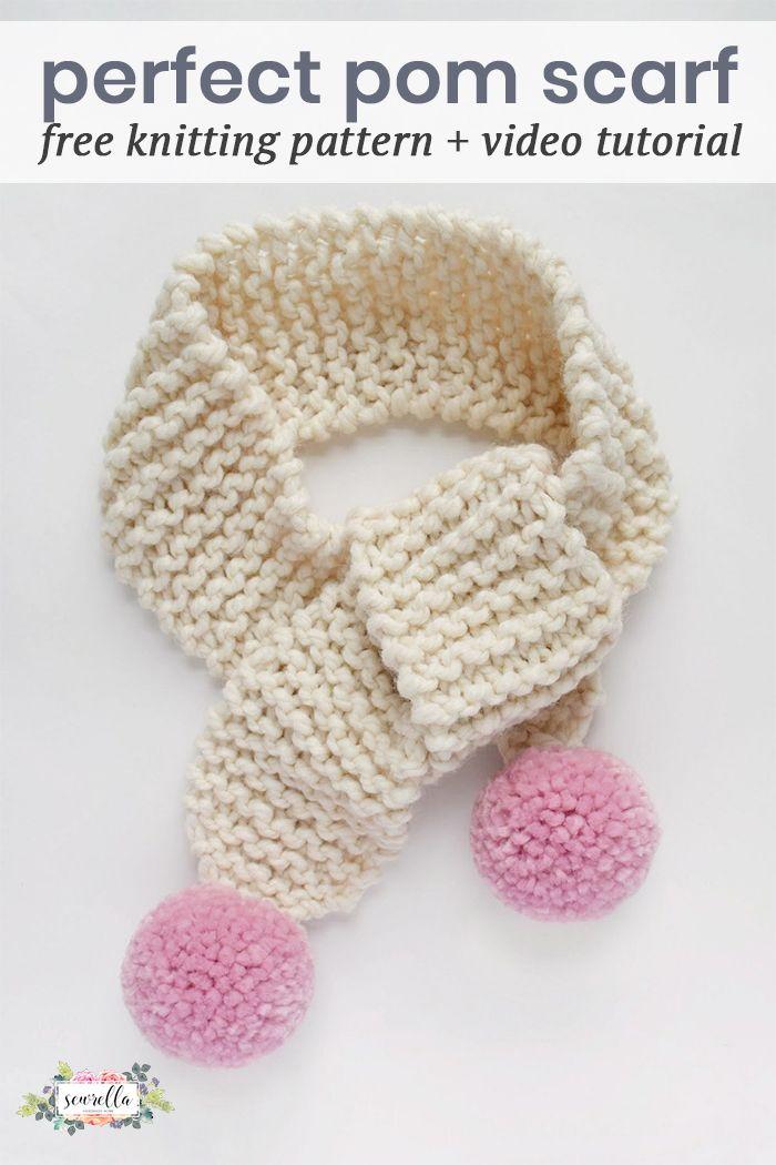 Knit Pom Pom Scarf Pattern - for Kiddos (with Destiny | Pinterest ...