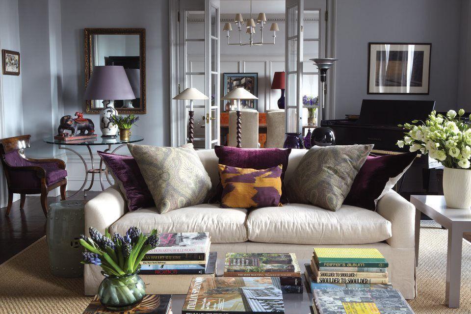 White Gray Purple Tan Living Room