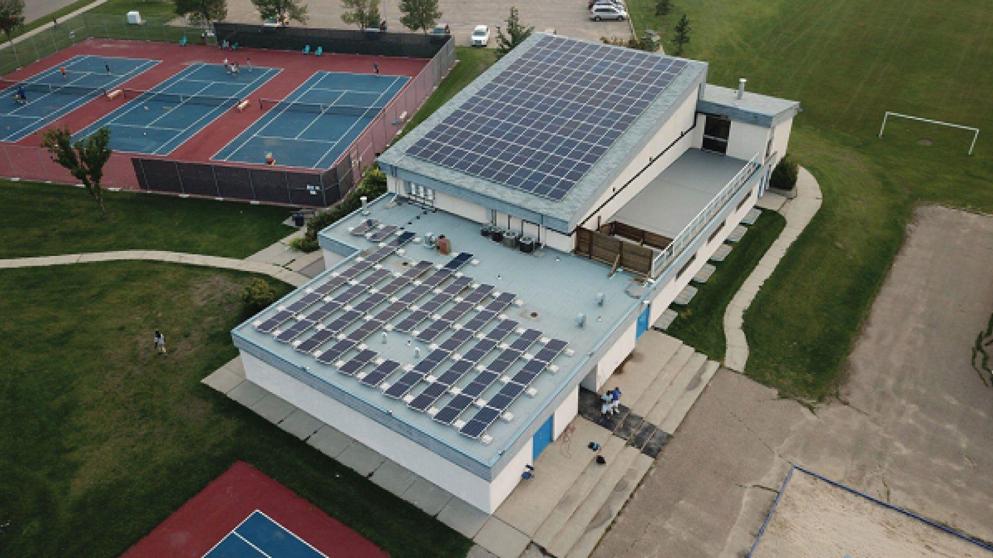Solar Panels On Roof Of Blue Quill S Community League Building Edmonton Alberta Canada Solar Panels Roof Solar Solar Pv Systems