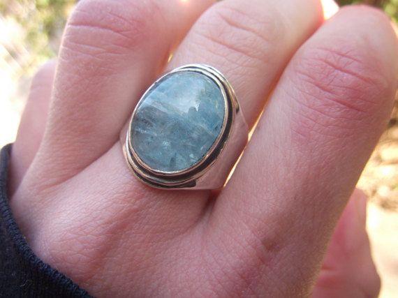 Big Aquamarine Ring Sterling Silver Blue Beryll Ring Handmade Design Birthstone Semi Precious Gemstone Ring