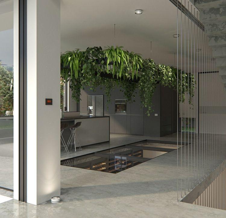 wein-lagern-keller-idee-durchsichtig-fussboden-decke-pflanzen-deko ...