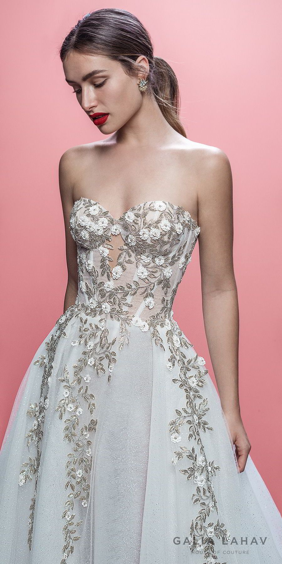 galia lahav spring 2019 bridal strapless sweetheart neckline heavily ...