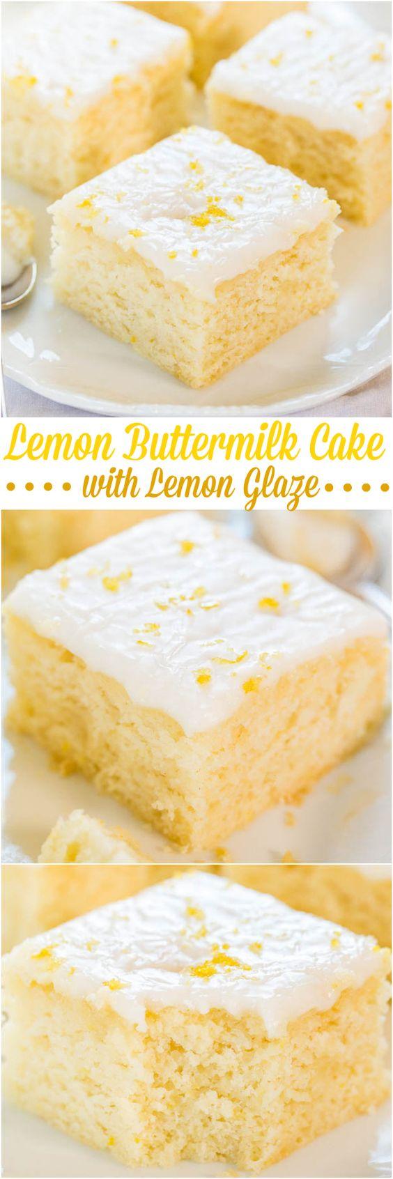 Lemon Buttermilk Cake Easy Lemon Glaze Averie Cooks Recipe Lemon Recipes Desserts Cake