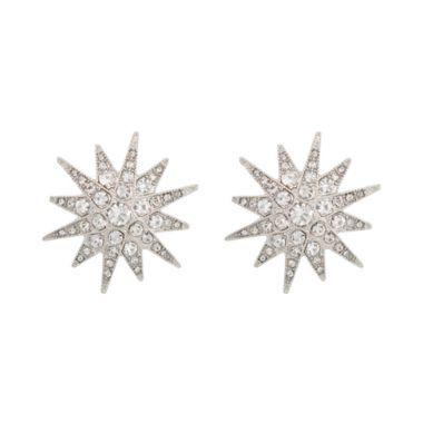 Kenneth Jay Lane Silver Crystal Starburst Clip Earring zyGO1pc