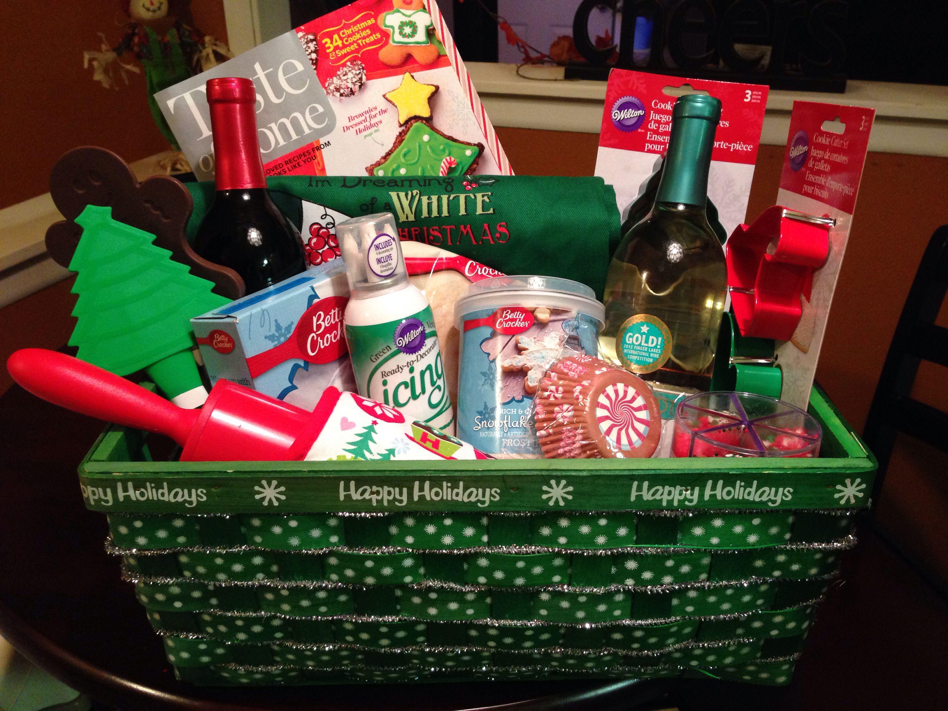 Christmas gift basket. Charity raffle gift basket. Wine gift basket ...