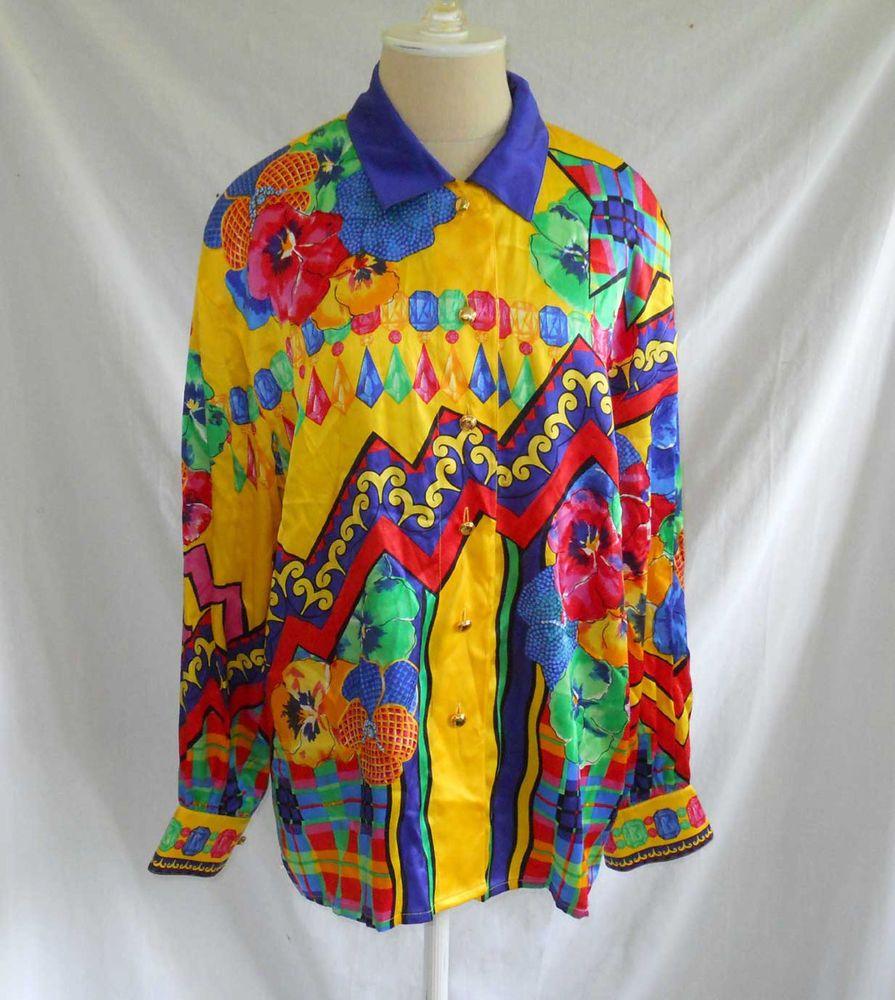 Escada Vintage Blouse 80s Shirt Tunic Silk Deadstock Scarf Mixed Print NOS 40 #Escada