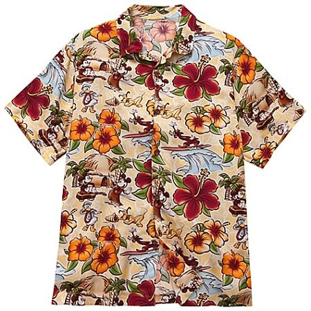 1fde8ece Disney Shirt for Men - Hawaiian Surf and Sand - Mickey Mouse - Yellow