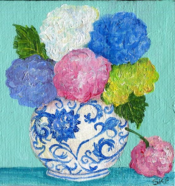 Hydrangeas Mini Painting Acrylic On Small Canvas Flowers Artwork 4 X