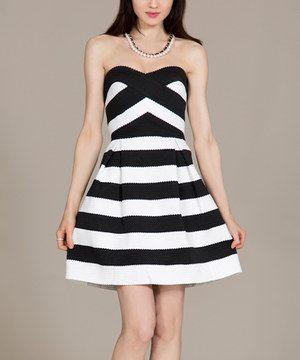 Love this Flying Tomato Black & White Stripe Sweetheart Dress by Flying Tomato on #zulily! #zulilyfinds