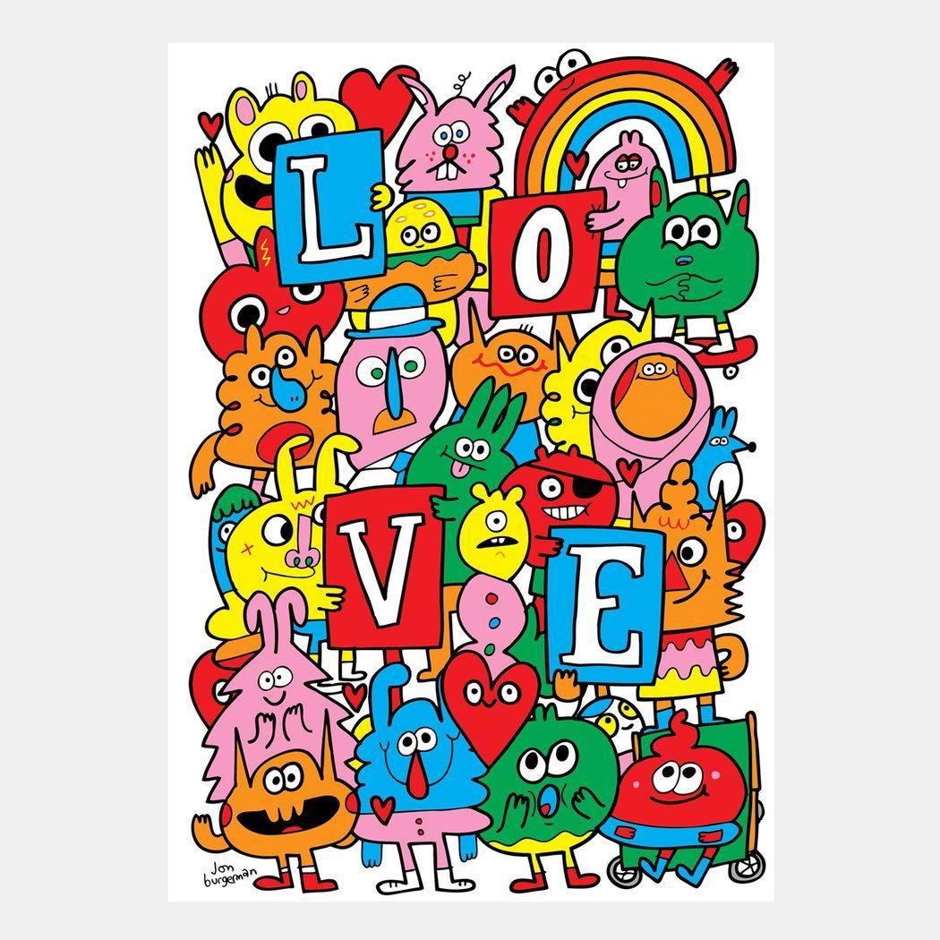 Jon Burgerman Love Art prints online, Prints, Visual artist