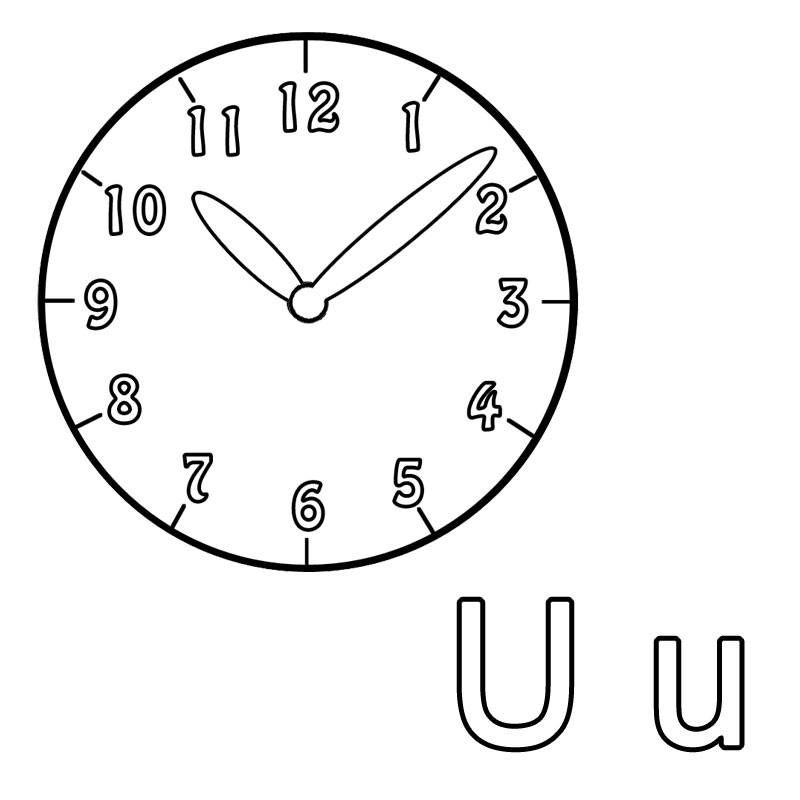Welches Wort Beginnt Mit Dem Buchstaben U Die Uhr Spielerisch Lernt Ihr Kind Beim Ausmalen Den Einundzwanzigsten Buchstaben Des Alpha Ausmalen Ausmalbild Uhr