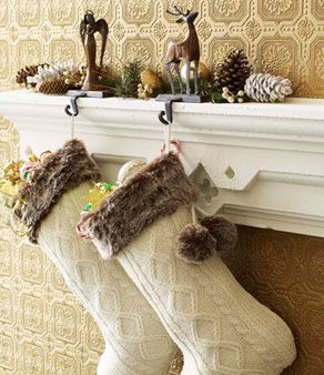 Cable Stitch White Christmas Stockings with Fur Trim | Christmas ...