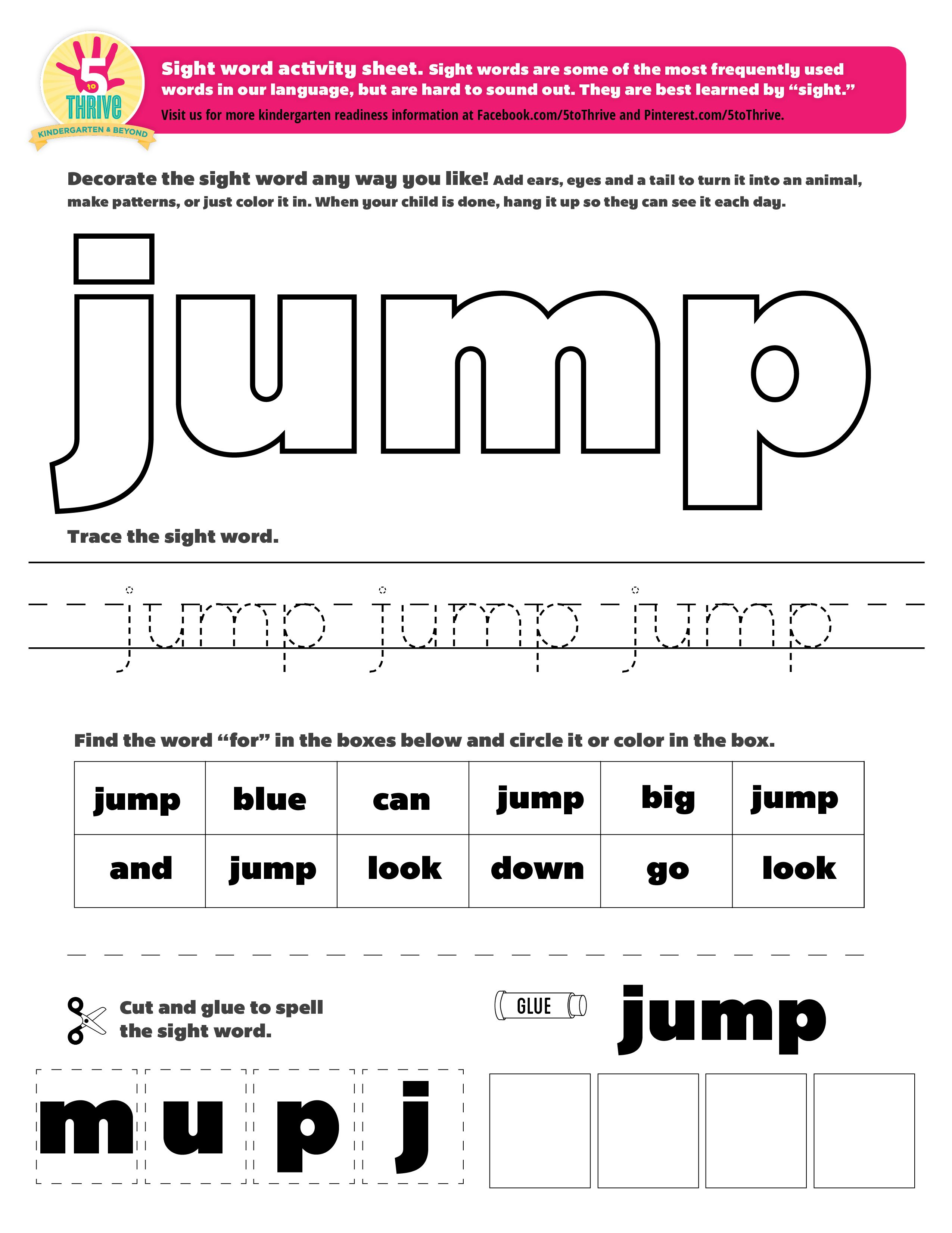 The Sight Word This Week Is Jump Sight Words Are Some Of The Most Frequently Used Words In Our Languag Preschool Sight Words Sight Word Practice Dolch Words