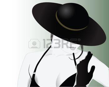 Mujer con sombrero. Blanco y negro.