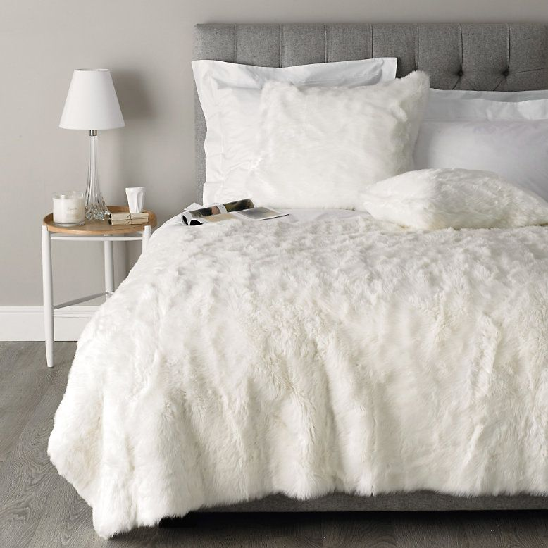 To buy luxury faux fur throw alabaster the white for White fur bedroom