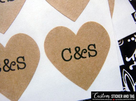 108 custom wedding stickers heart 3 4 inch brown kraft paper envelope seals wedding stickers mini heart stickers custom stickers s 07