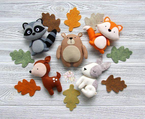 Photo of Felt forest animals forest animals baby room decoration Christmas decoration forest plush felt