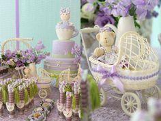 Mesa de doce chá de bebê docinhos menina ursinhos roxo  (Doces: Happy Happenings   Foto: Kit Gaion)