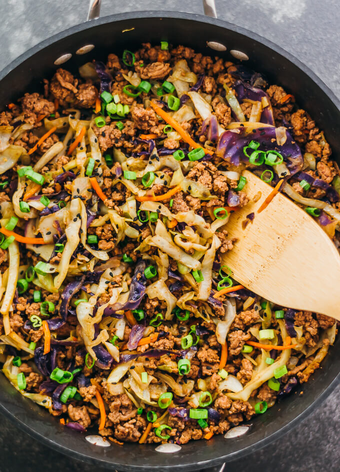 This Is A Super Fast And Easy Stir Fry Dinner With Ground Beef Cabbage Carrots And Scallions A Low In 2020 Ground Beef And Cabbage Cabbage Stir Fry Cabbage Recipes