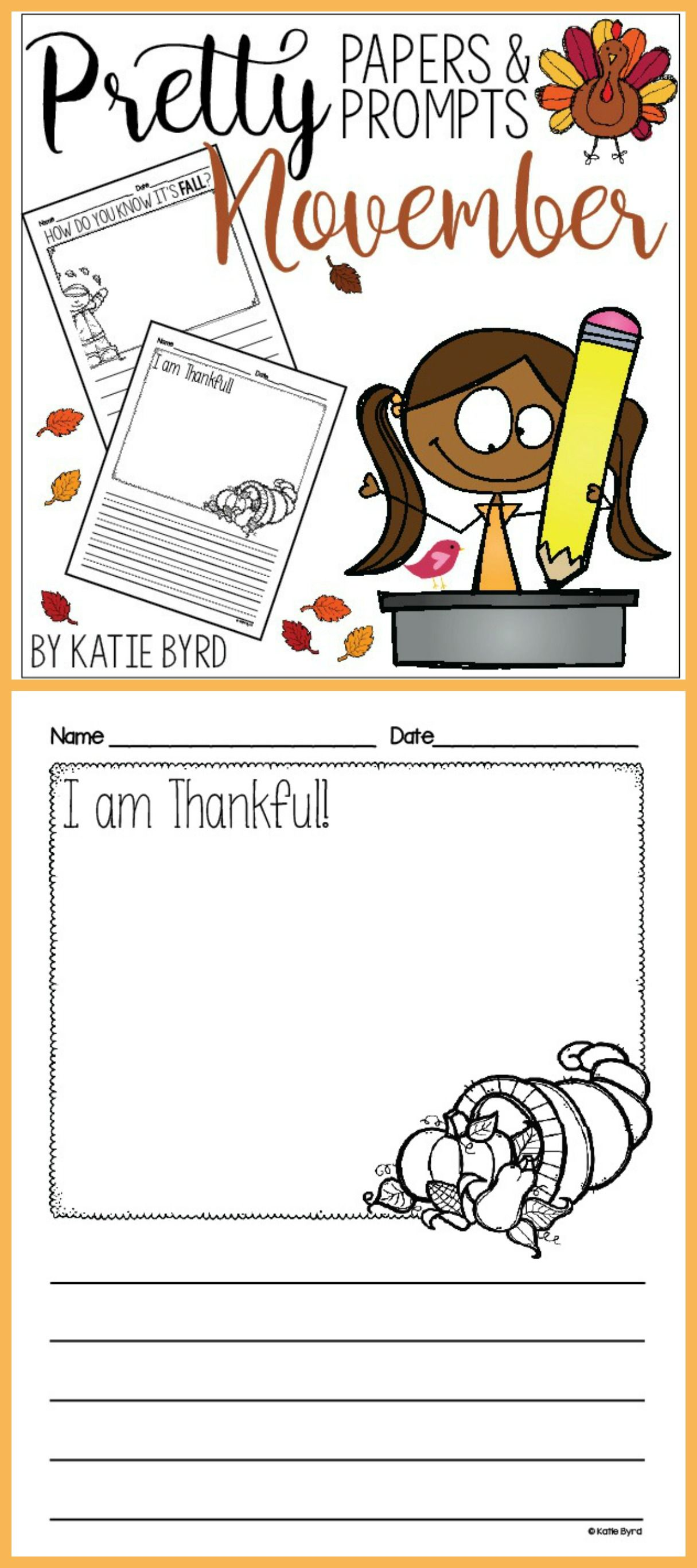 Writing Activities - NOVEMBER Pretty Papers & Prompts ...