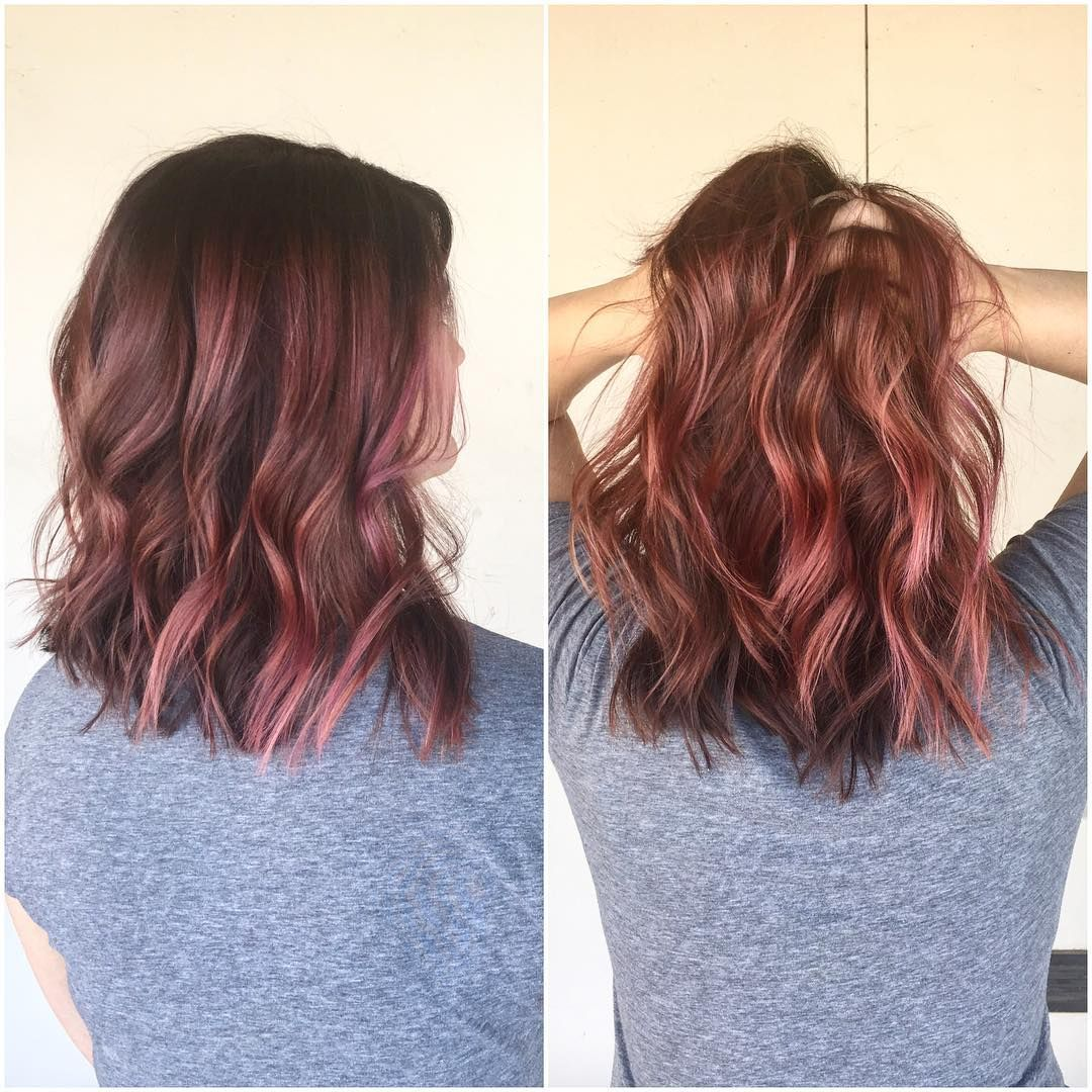 dusty rose with pink streaks | hair | brown hair with