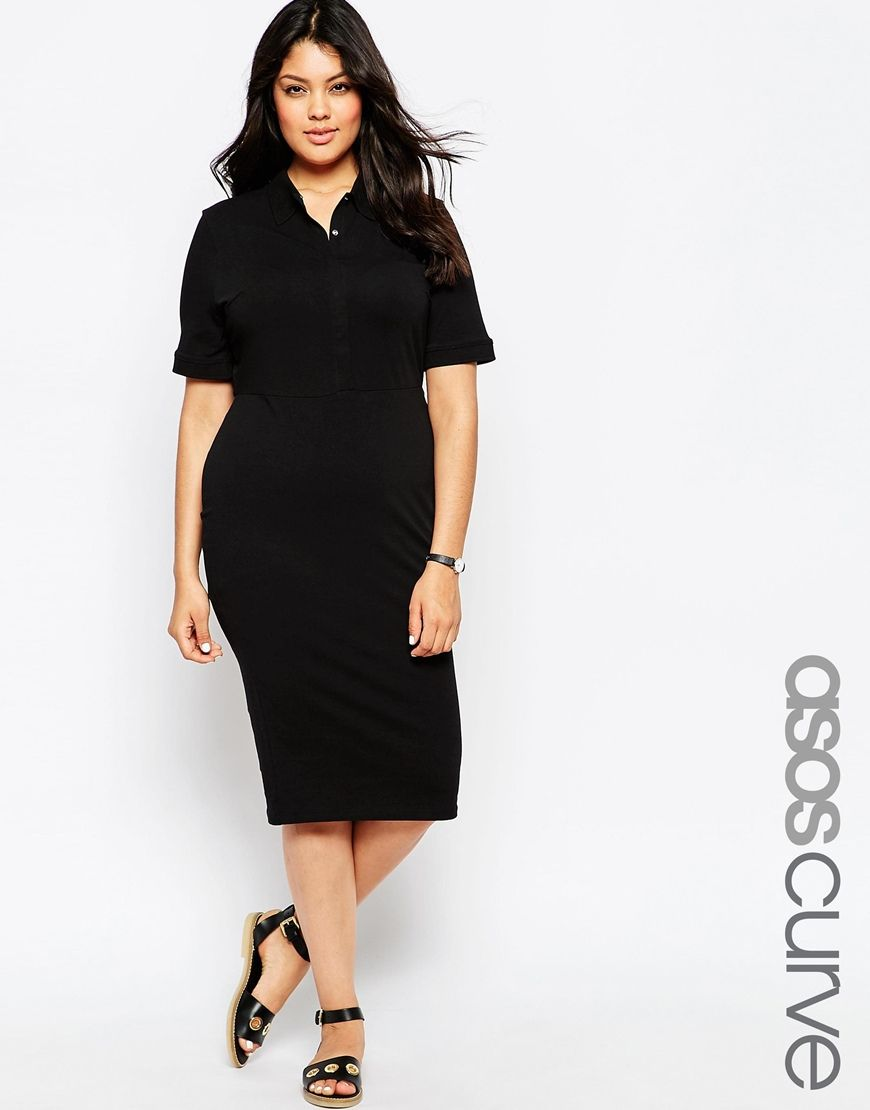 Image 1 of asos curve polo midi dress with images plus