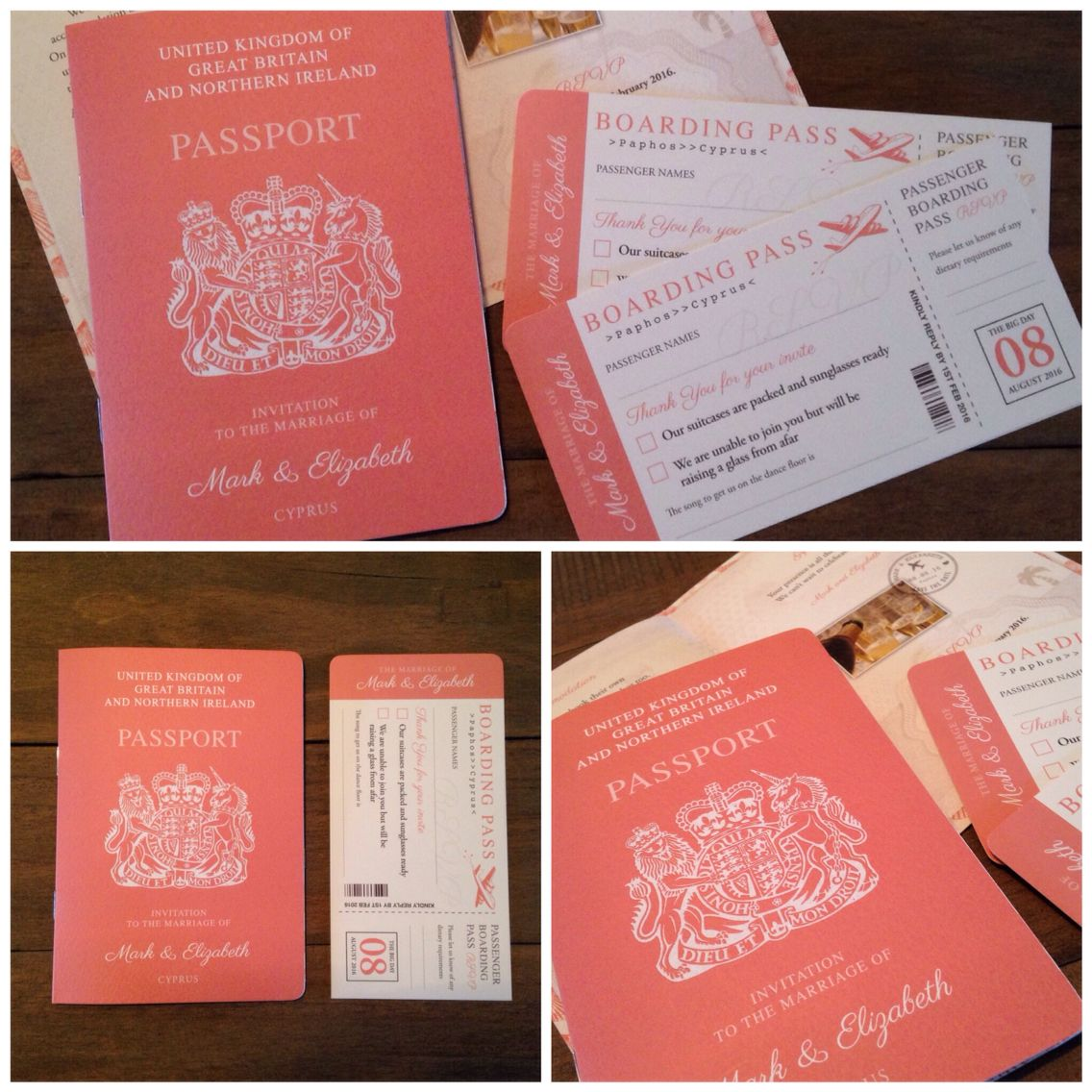 Pretty coral passport invites by jill@hopeyoucanmakeit.co.uk ...