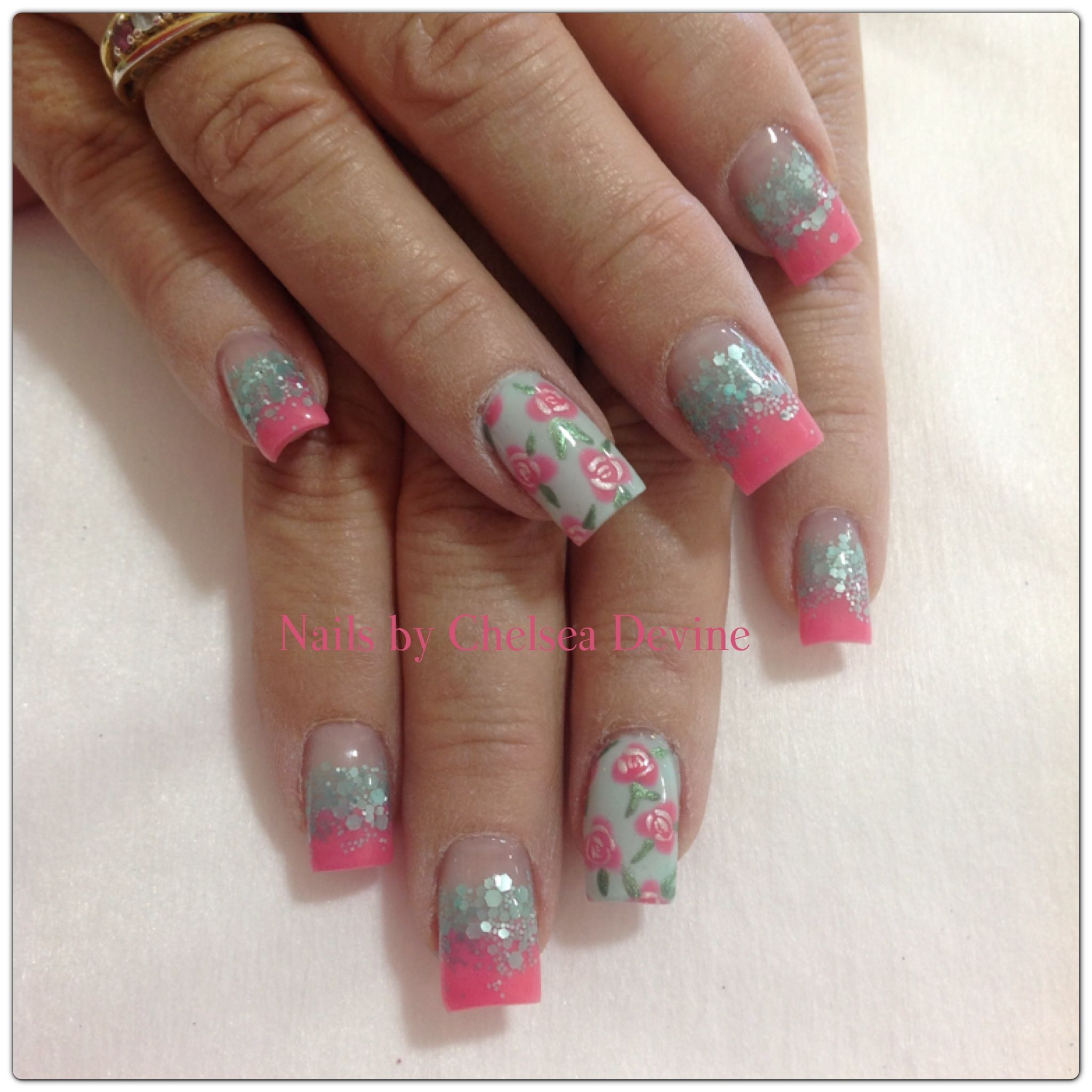 Coral and mint glitter flower accent summer nails 2013 ...