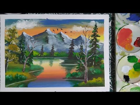 how to paint a simple landscape with poster colour mountain painting youtube