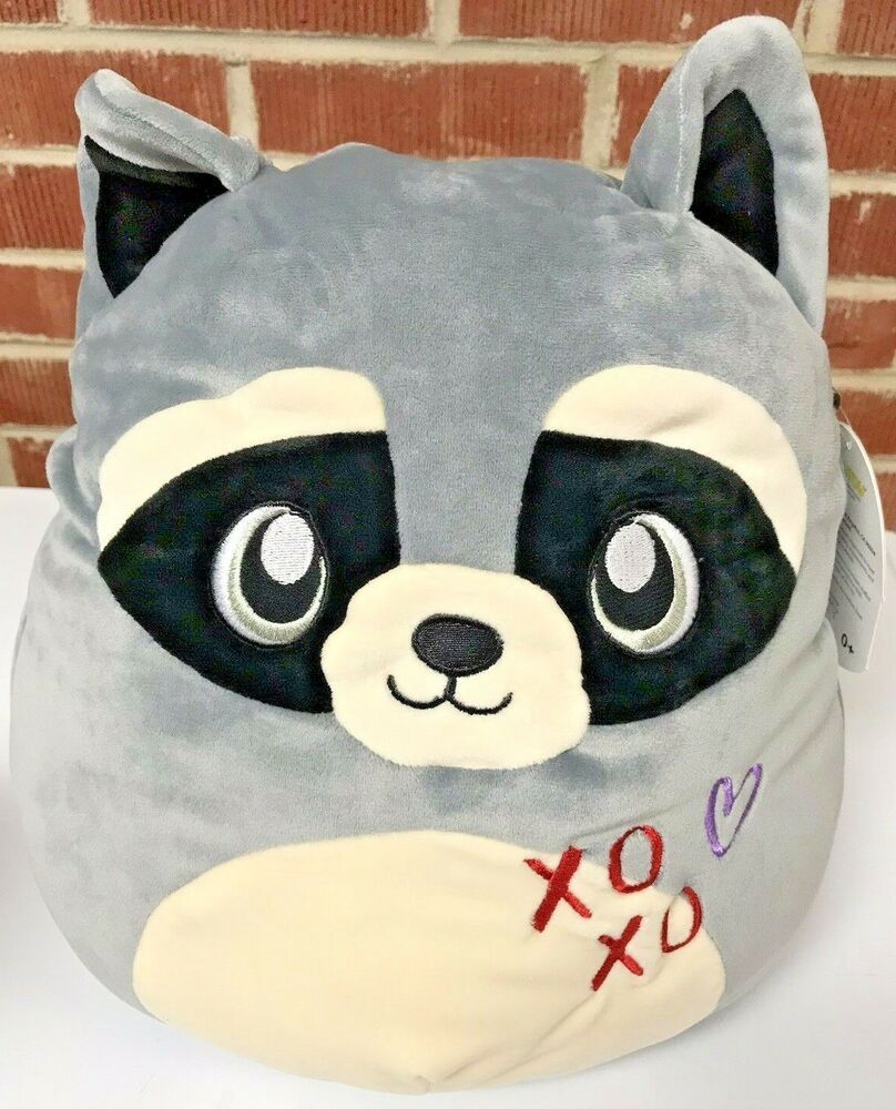 Squishmallows Randy The Raccoon Valentine Plush Pillow 12 Inch Kellytoy Valentine Plush Plush Pillows Cute Stuffed Animals