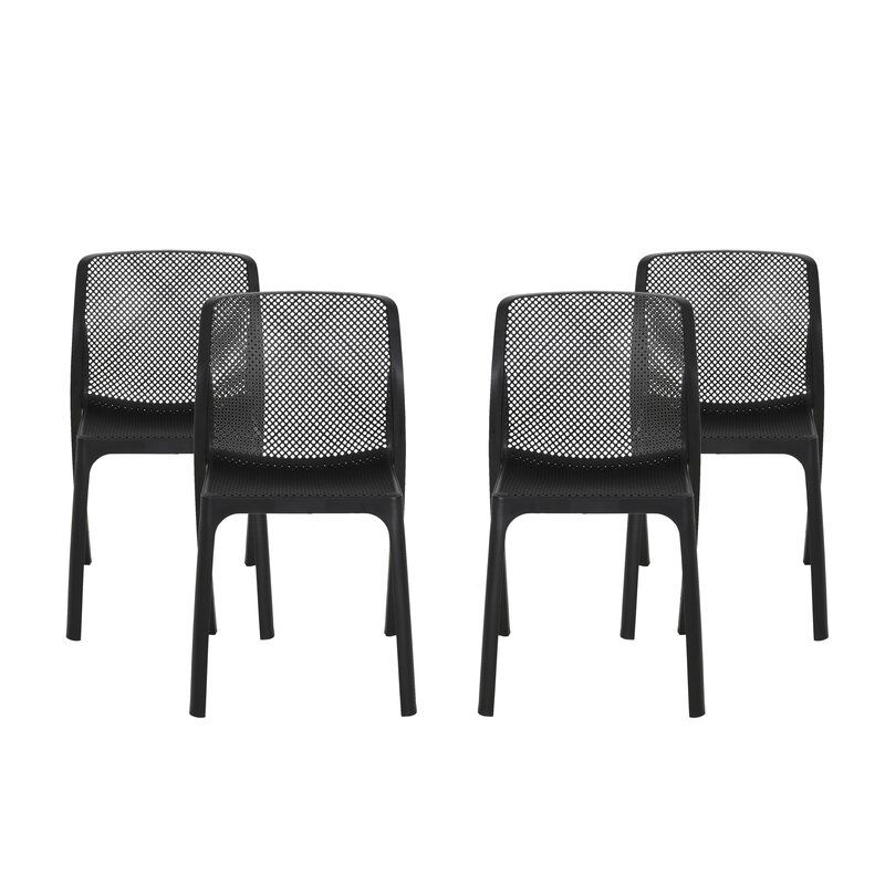 Ebern Designs Neve Outdoor Stacking Patio Dining Chair Reviews Wayfair Patio Dining Chairs Outdoor Plastic Chairs Patio Furniture Deals Black outdoor dining chairs