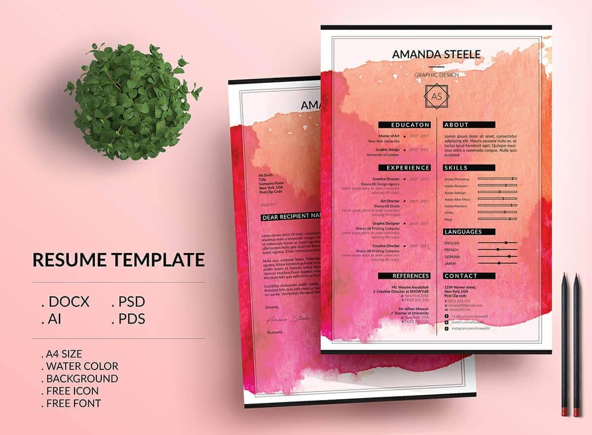 Creative And Colorful Resume With Watercolor Background Resume
