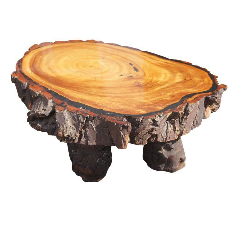 Large Vintage Redwood Live Edge Coffee Table Wood slice