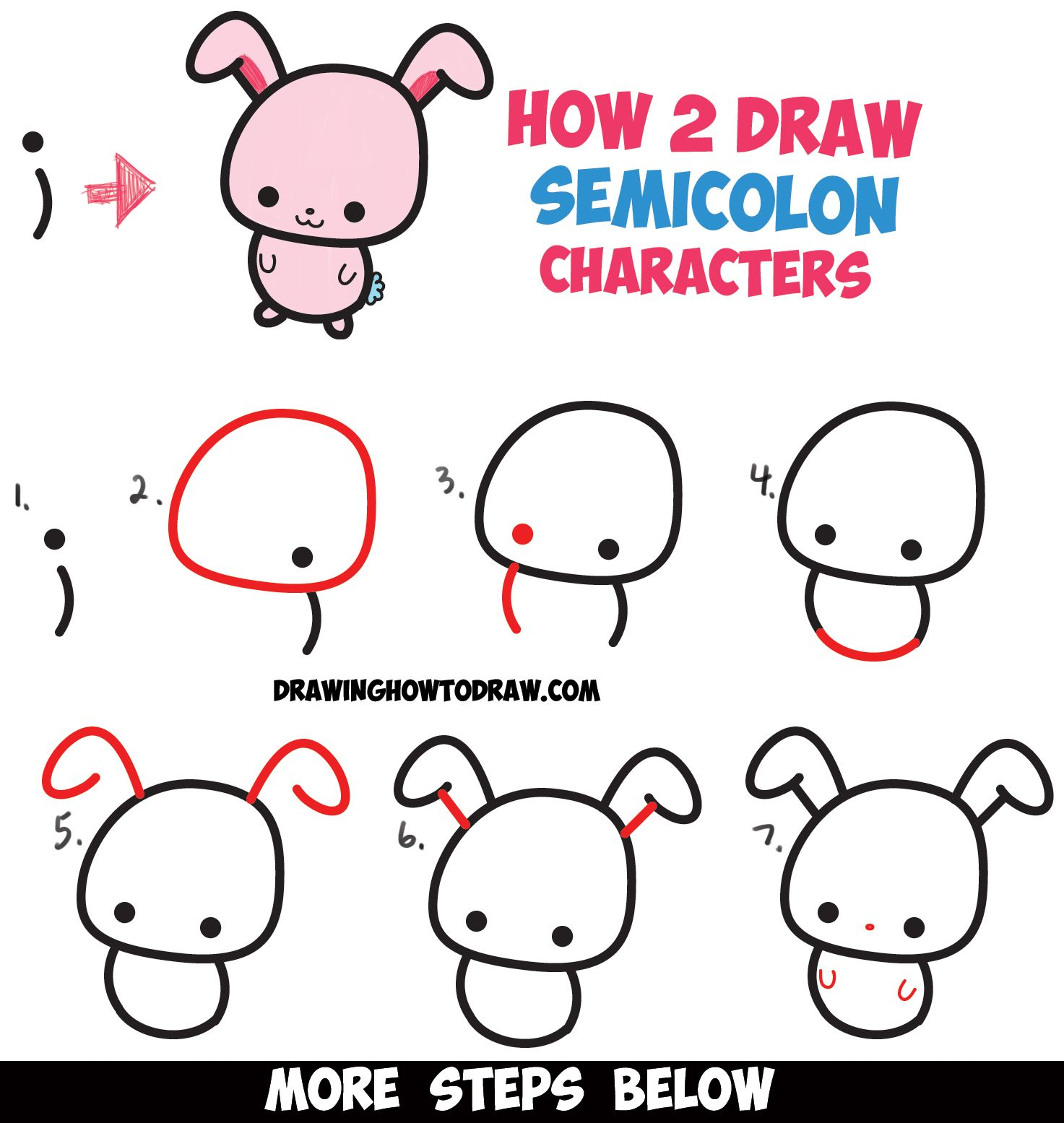 The editors of publications international, ltd. How to Draw Cute Cartoon Characters from Semicolons - Easy ...