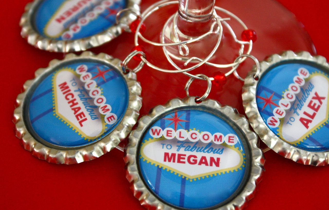 Personalized Las Vegas wine charms Vegas wedding by WilmaandBetty ...