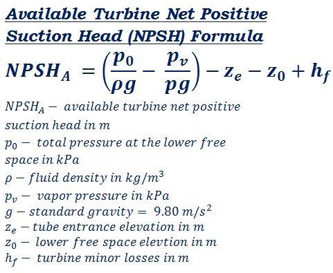 formula to calculate NPSH - turbine available net positive