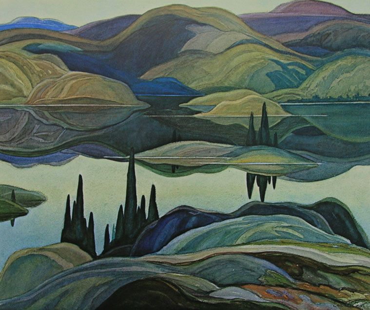 Mirror Lake Landscape by Franklin Carmichael Counted Cross Stitch Pattern