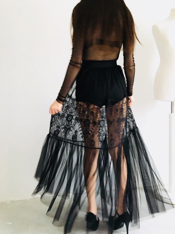 e5a63a332128 Black lace skirt, long tulle skirt, transparent skirt, overskirt, gothic  skirt, sheer skirt, mesh sk
