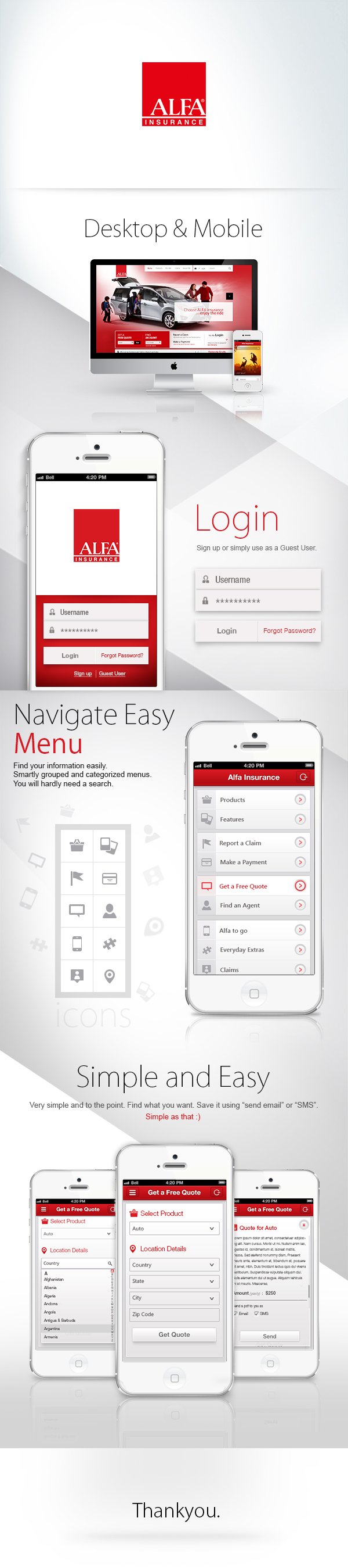 Application for Alfa Insurance Unofficial Concept by