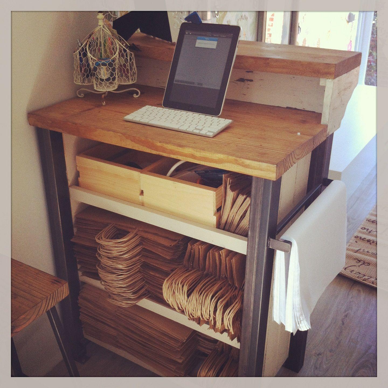 diy reception desk display case