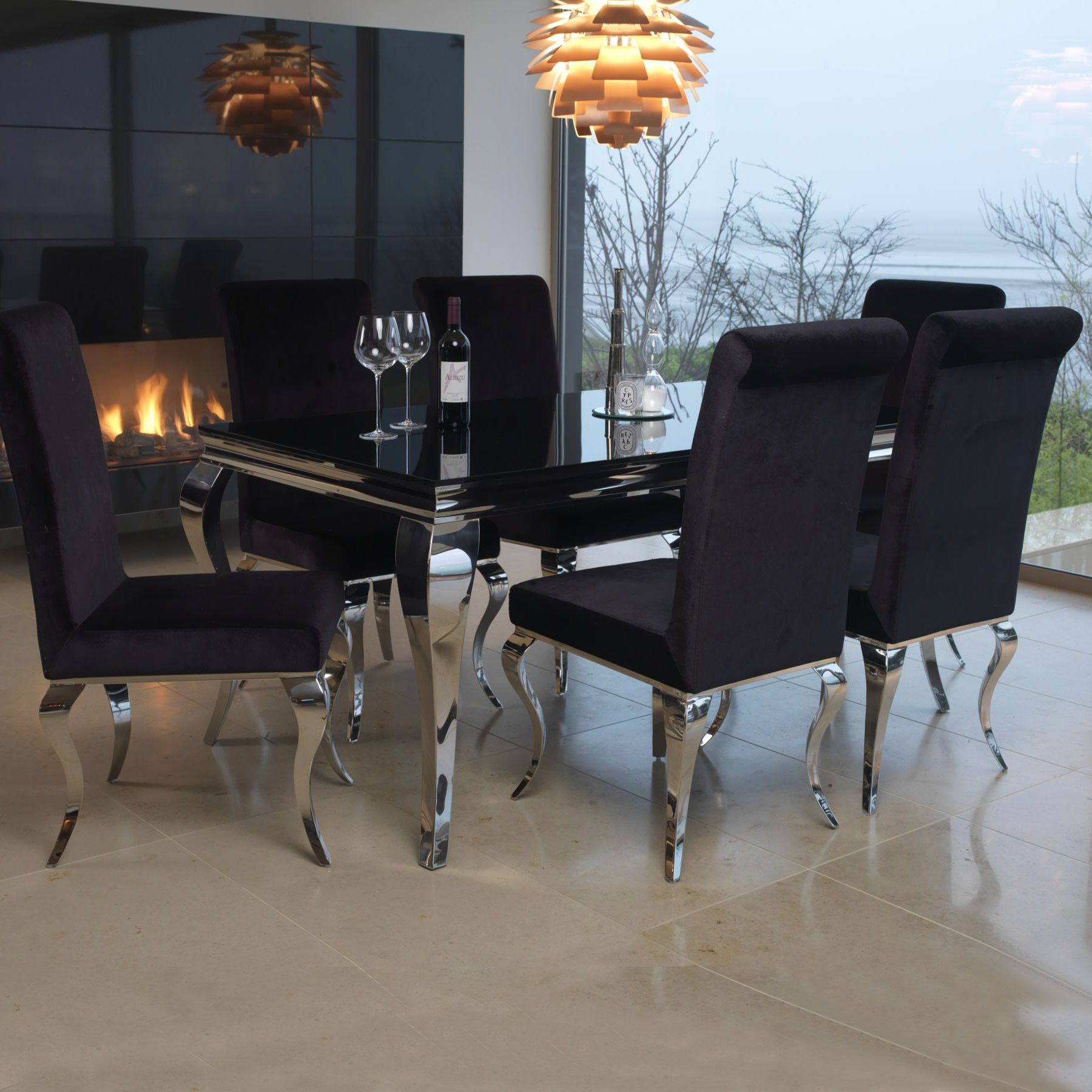 Louis Black Glass 160cm Dining Table And 6 Chairs Dining Room Table Set Dining Table Chairs Chrome Dining Table