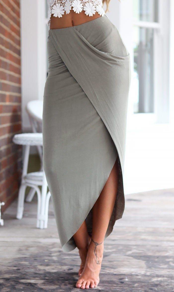 Photo of Irregular Lace Halter Split Beach Dress