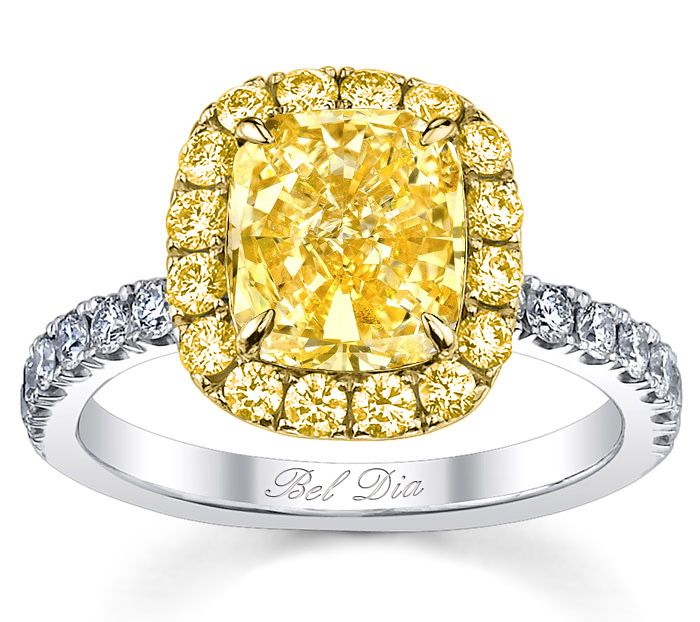Perfect Yellow Diamond Halo Engagement Ring For Canary Diamond
