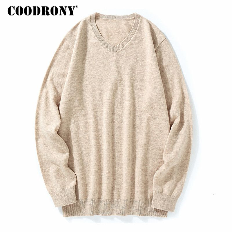 COODRONY Sweater Men Classic Pure Color V-Neck Cashmere Pullover Men  Clothes 2018 Winter Thick Warm 100% Merino Wool Sweaters 03 0a925238c