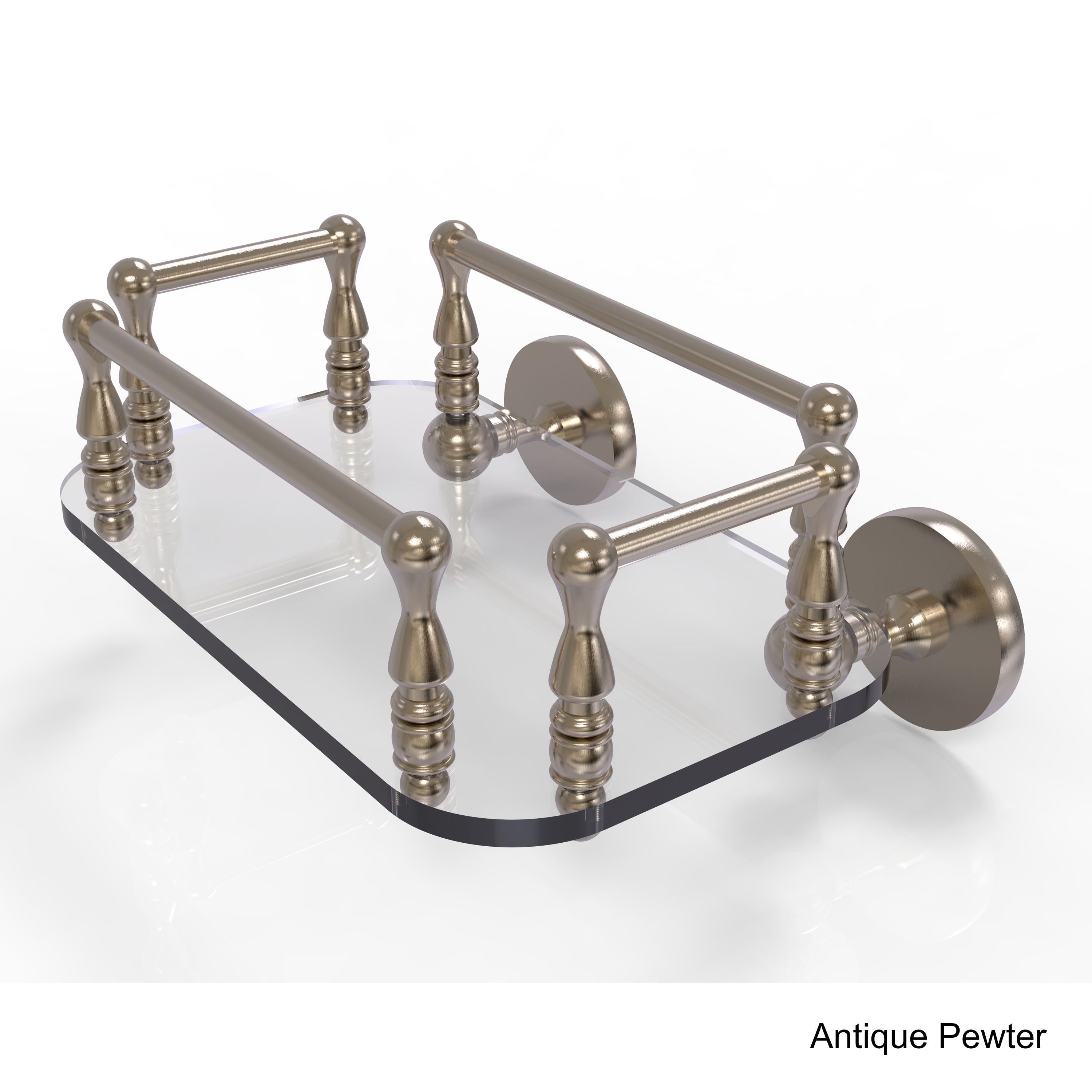 Allied Brass Prestige Skyline Collection Wall Mounted Glass Guest Towel Tray (Antique Pewter), Clear