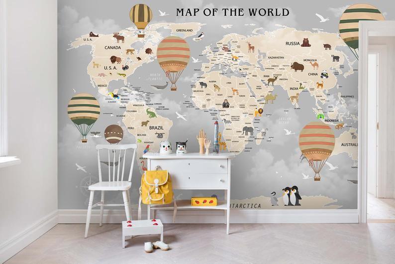 3D Kids, Dark cloud, World map WallpaperNursery Wallpaper
